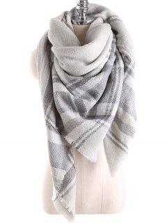 Tartan Plaid Blanket Shawl Scarf - Frost