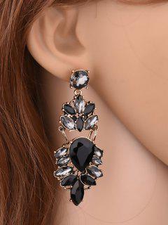 Vintage Artificial Crystal Water Drop Earrings - Black