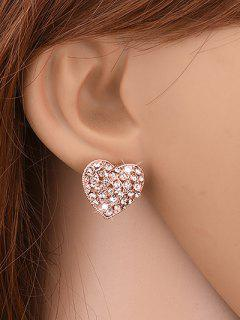 Heart Shape Rhinestone Stud Earrings - Golden