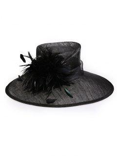 Feather Cocktail Flax Yarn Wide Brim Sun Hat - Black