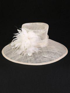 Feather Cocktail Flax Yarn Wide Brim Sun Hat - Off-white