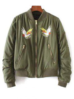 Eagle Embroidered Quilted Bomber Jacket - Army Green S