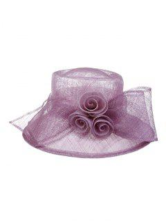 Formal Dress Wide Brim Froral Sinamay Hat - Light Purple