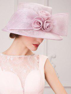 Formal Dress Wide Brim Froral Sinamay Hat - Light Pink