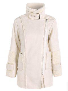 Faux Suede Fleece Lining Zipped Coat - Off-white L