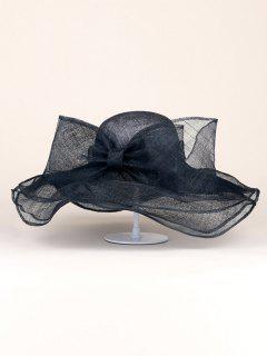 Sunshade Bowknot Width Brim Sinamay Hat - Black