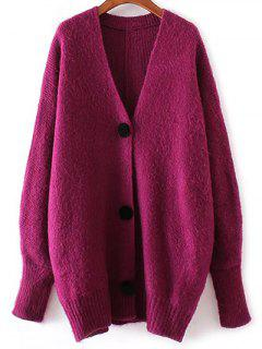 V Neck Knitted Cardigan - Purplish Red