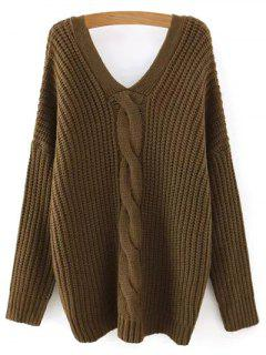 Cable Knit V Neck Sweater With Back Buttons - Army Green L