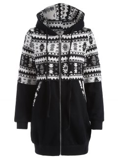 Jacquard Tribal Longline Hoodie - White And Black M
