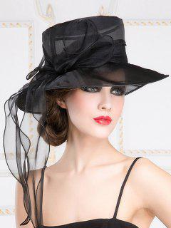 Church Party Wide Brim Organza Bowknot Hat - Black