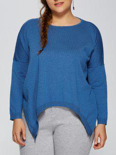 Plus Size Pullover Handkerchief Sweater - Lake Blue 2xl