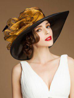 Summer Sunscreen Floral Organza Wide Brim Hat - Yellow M