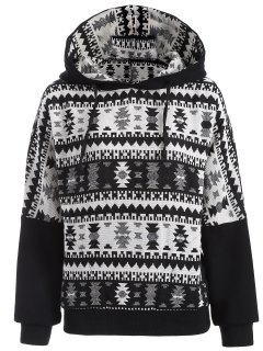 Tribal Jacquard Pullover Batwing Hoodie - White And Black 2xl