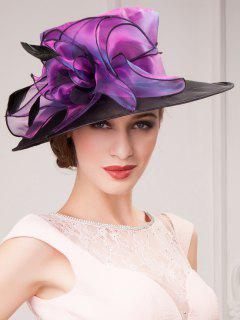 Kentucky Derby Floral Organza Sun Hat - Purple