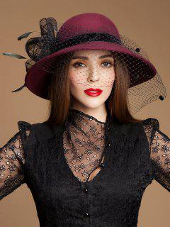 Sombrero De Fieltro De Lana Floral Bowler Fedora - Vino Rojo
