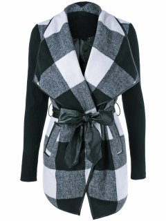 Shawl Collar Wrap Plaid Coat - Checked Xl