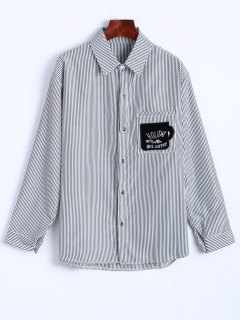 Letter Patched Stripes Number Shirt - White And Black M