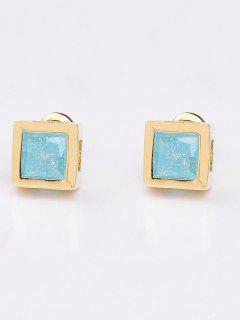 Square Rhinestone Earrings - Lake Blue
