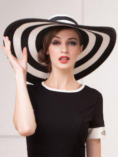 Wide Brim Summer Beach Stripe Straw Sun Hat - White And Black