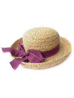 Summer Beach Bowknot Straw Sun Hat - Purplish Red