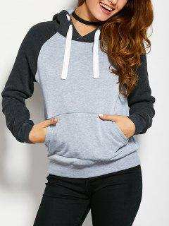 Color Block Hoodie With Front Pocket - Light Grey Xl