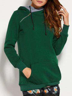 Drawstring Double Hooded Sweatshirt - Blackish Green M