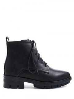 Pointed Toe Chunky Heel Combat Boots - Black 38