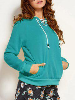 Lace Up Raglan Sleeve Hoodie - Green S