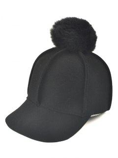 Winter Fur Pom Ball Ribbed Wool Baseball Hat - Black