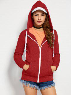 Drawstring Zip Up Hoodie With Pocket - Red S