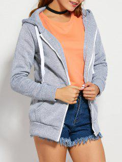 Drawstring Zip Up Hoodie With Pocket - Light Gray L