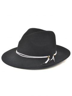Winter Big Brimmed Drawstring Fedora Hat - Black