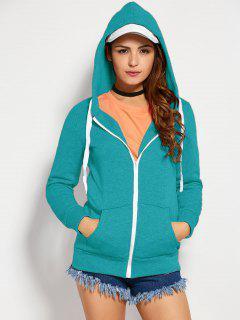 Drawstring Zip Up Hoodie With Pocket - Lake Blue S