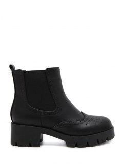 Retro Chunky Heel Engraving Ankle Boots - Black 37