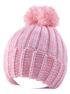 Handmade Crochet Pom Ball Beanie Hat - Pink
