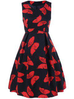 Vintage Butterfly Pattern Fit And Flare Dress - Red With Black M