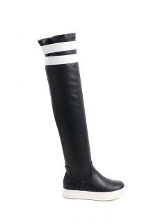 Color Block PU Leather Platform Thigh Boots - Black 38