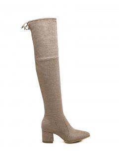 Pointed Toe Chunky Heel Thigh Boots - Apricot 39