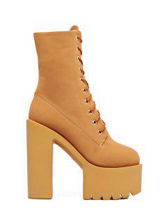 Fold Down High Heel Combat Boots - Light Brown 38