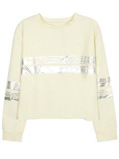 Metallic Stripe Crew Neck Sweatshirt - Beige L