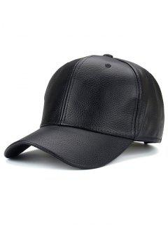 Outdoor Sunshade PU Leather Baseball Hat - Black