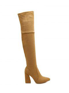 Chunky Heel Pointed Toe Thigh Boots - Brown 38