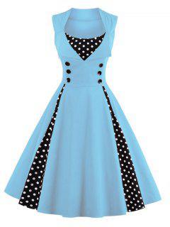 Polka Dot Puffer Midi Dress - Light Blue M
