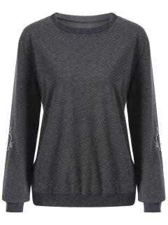 Cat Embroidered Sleeve Sweatshirt - Deep Gray S