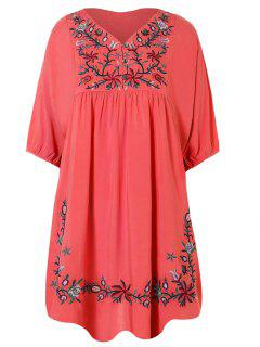Floral Embroidered Bib Tunic Dress - Watermelon Red