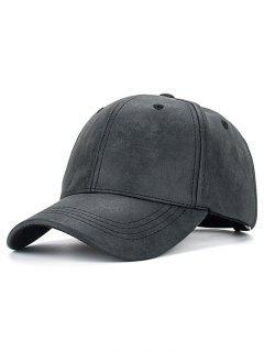 Casual PU Leather Baseball Hat - Black