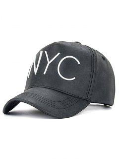 NYC Letter Printed PU Leather Baseball Hat - Black