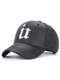 Outdoor U Letter Printed PU Leather Baseball Hat - Black