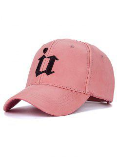 Outdoor U Letter Printed PU Leather Baseball Hat - Pink