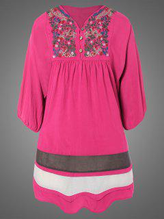 Plus Size Embroidered Bib Tunic Dress - Rose Red